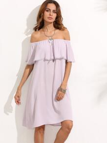 Purple Ruffle Off The Shoulder Shift Dress