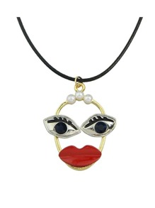 Antique Gold Cute Enamel Eyes Mouth Shape Pendant Necklace