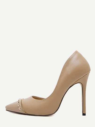 Apricot Faux Leather Cap Toe Studded Pumps