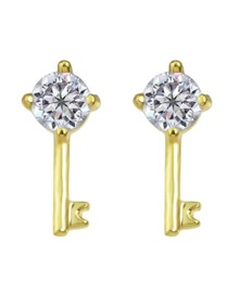 White Crystal Key Shape Stud Earring