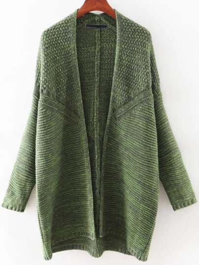 Green Bat Sleeve Long Cardigan