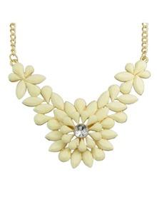 Beige Gemstone Flower Shape Necklace