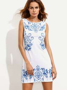 Blue and White China Print Dress