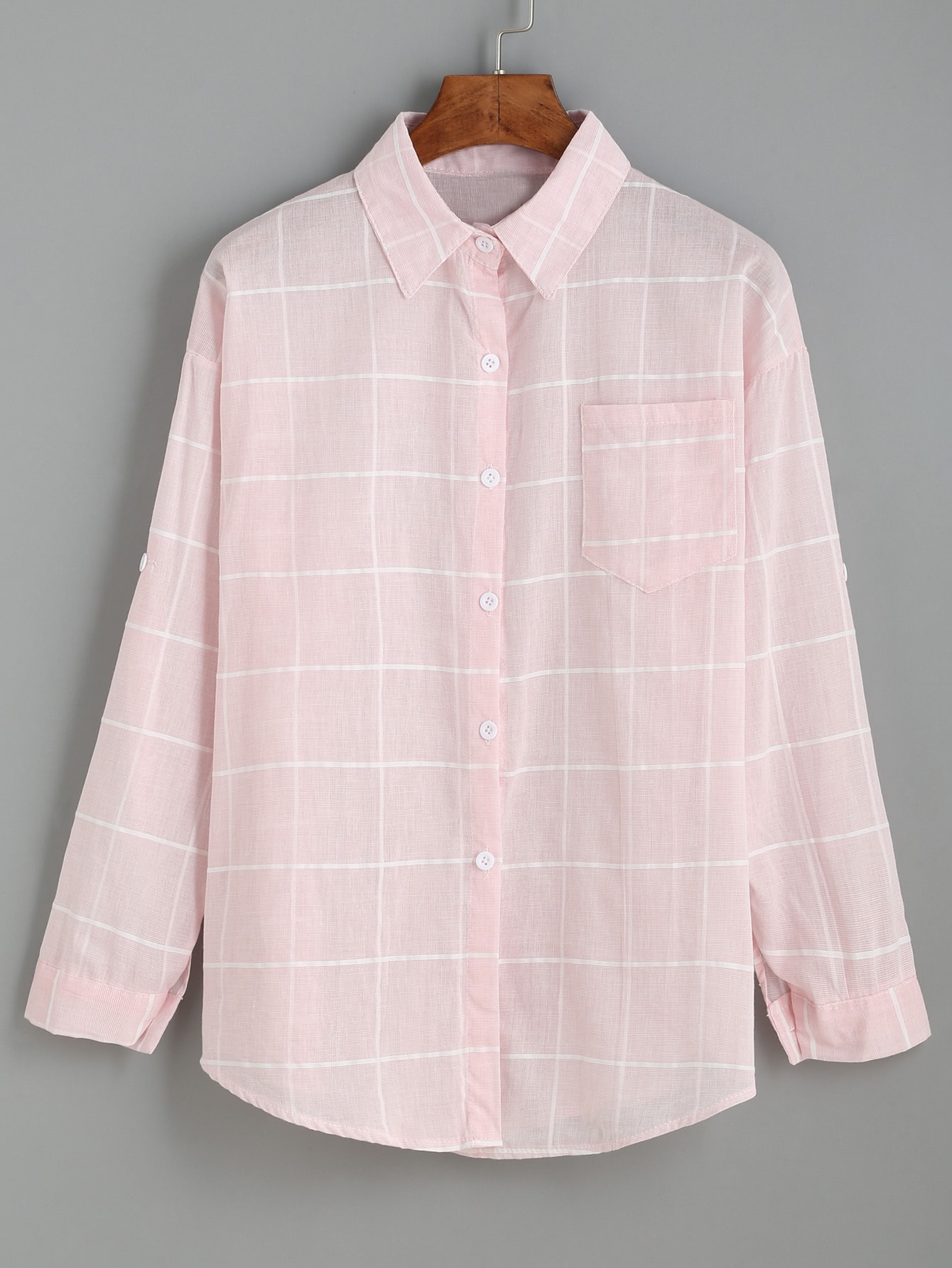 Pink Grid Drop Shoulder BlousePink Grid Drop Shoulder Blouse<br><br>color: Pink<br>size: one-size