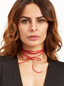 Red Bow Simple Wrap Choker Necklace