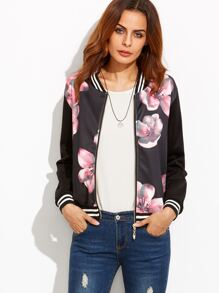 Black Striped Floral Print Bomber Jacket