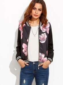 Black Striped Floral Print Bomber Jacket