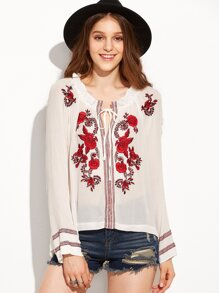White Embroidered Tie Neck Blouse