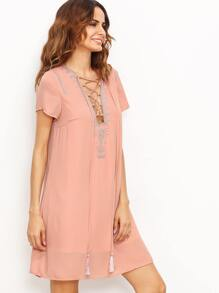 Pink Lace Up Print Front Shift Dress