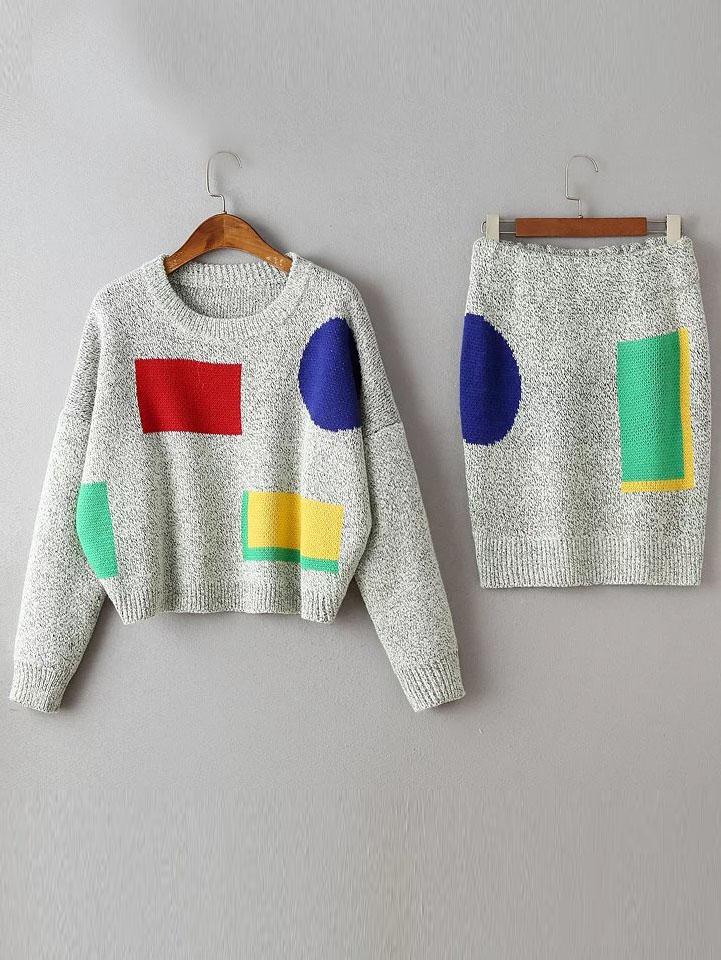 Grey Color Block Drop Shoulder Sweater With Skirt twopiece160812201