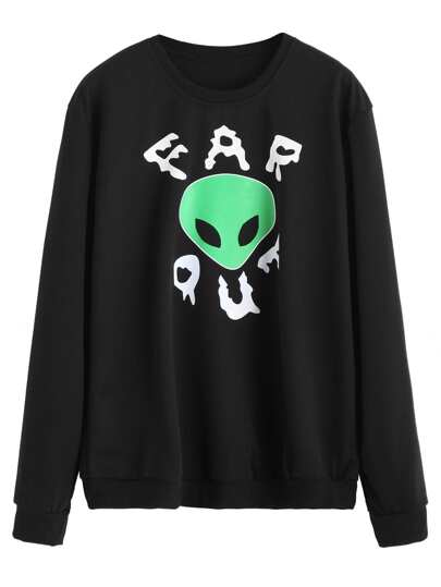 Black Alien Print Sweatshirt