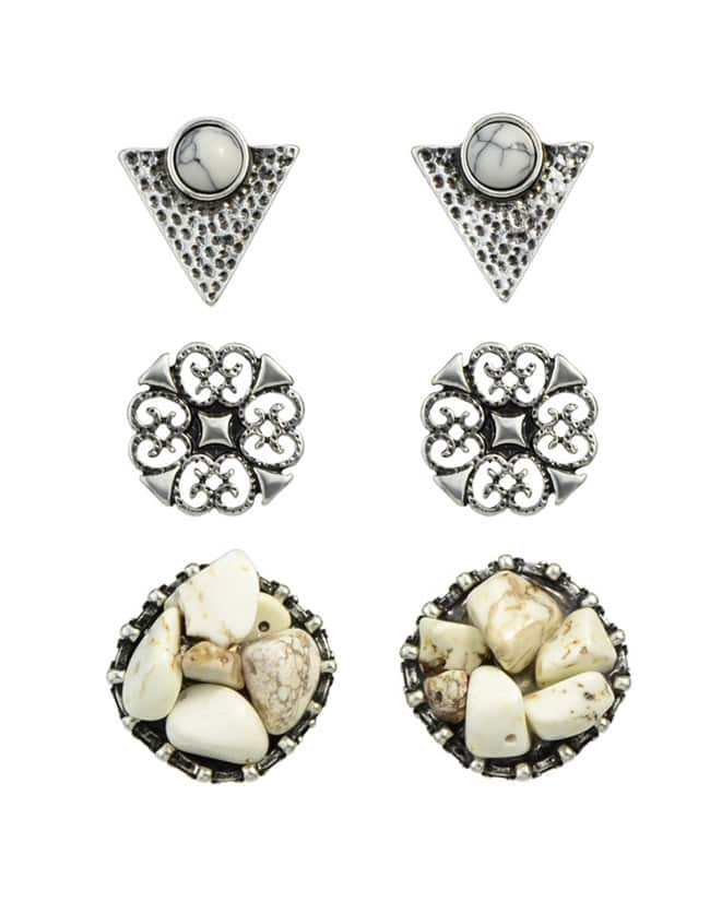 Фото White Turquoise Triangle Stud Earrings. Купить с доставкой