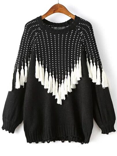 Black Fringe Detail Raglan Sleeve Sweater