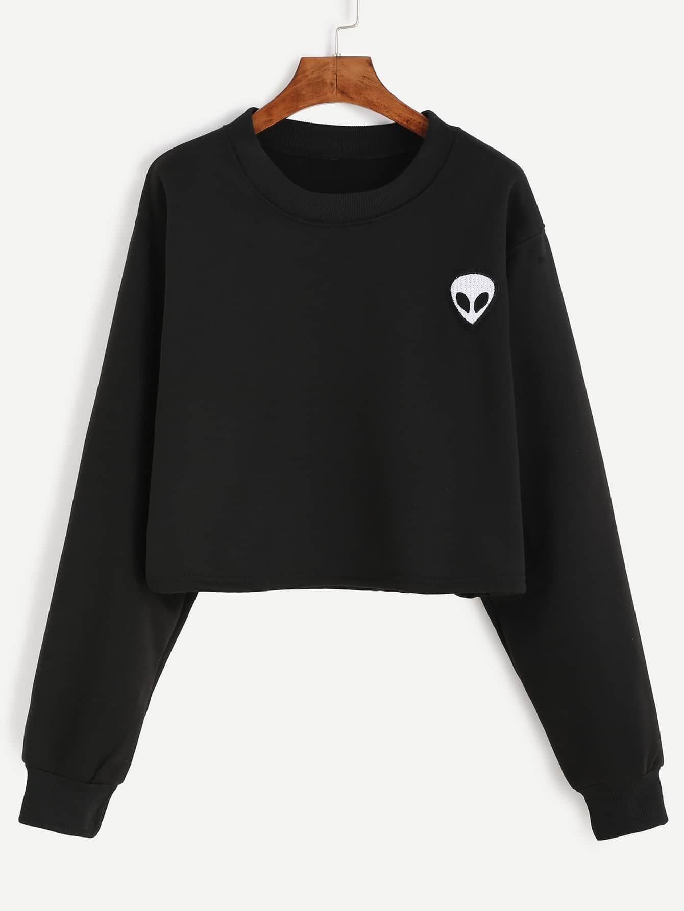 Alien Embroidered Crop Sweatshirt
