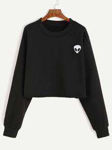 Black Alien Embroidered Crop Sweatshirt