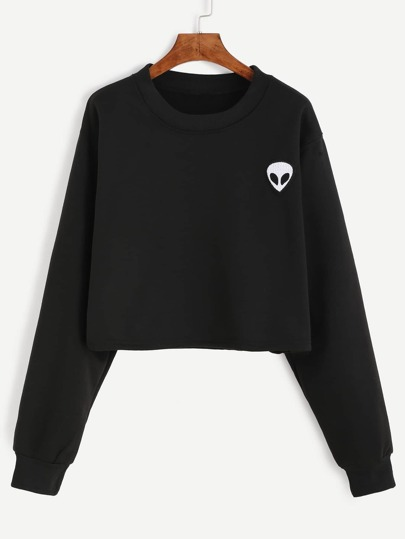 Alien Embroidered Crop Sweatshirt