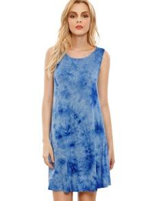 Impresión azul de la impresión del cuello de la gasa Tie-dye Casual Dress