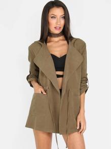 Hooded Quarter Sleeve Jacket OLIVE