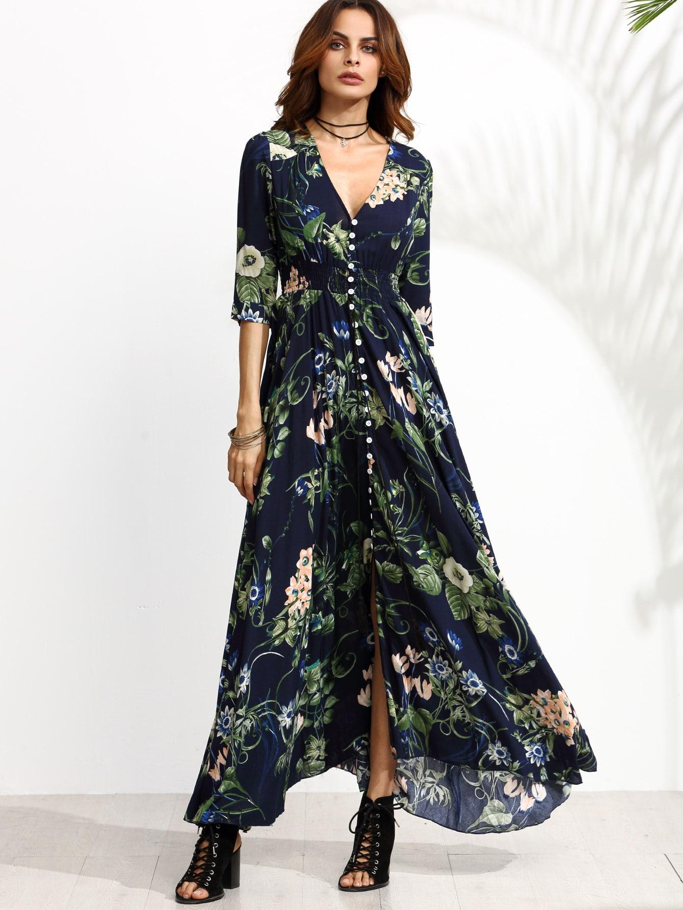 Calico Print Plunge Neck Button Front Maxi Dress