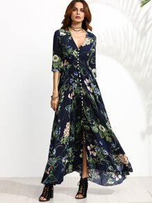 Navy Floral Print Half Sleeve Button Front Dress