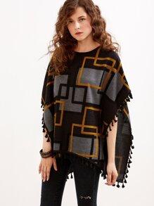 Black Geometric Print Fringe Pancho Sweater