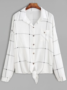 White Windowpane Plaid Drop Shoulder Knotted Hem Shirt