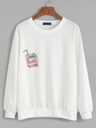 White Drawing Print Sweatshirt