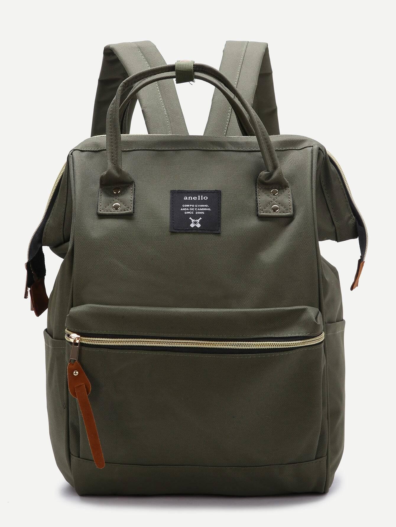 Green Zip Closure Canvas BackpackGreen Zip Closure Canvas Backpack<br><br>color: Green<br>size: None