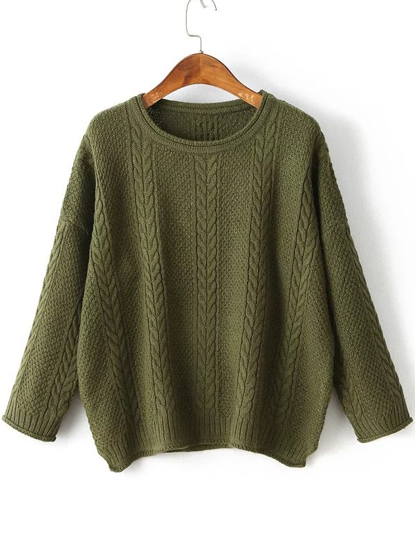 Drop Shoulder Side Slit Cable Knit Sweater sweater160830223