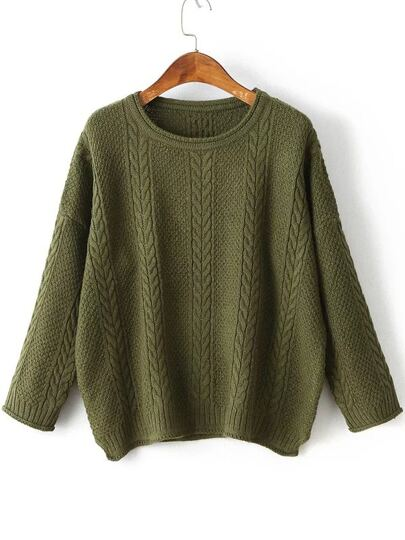 Drop Shoulder Side Slit Cable Knit Sweater