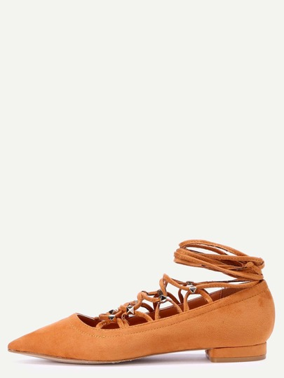 Brown Faux Suede Pointed Toe Criss Cross Flats