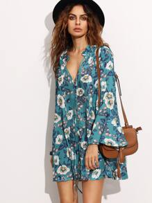 Green Tie Neck Floral Print Bell Sleeve Dress