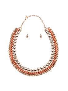 Boucles d'oreilles avec collier large en chaîne - orange