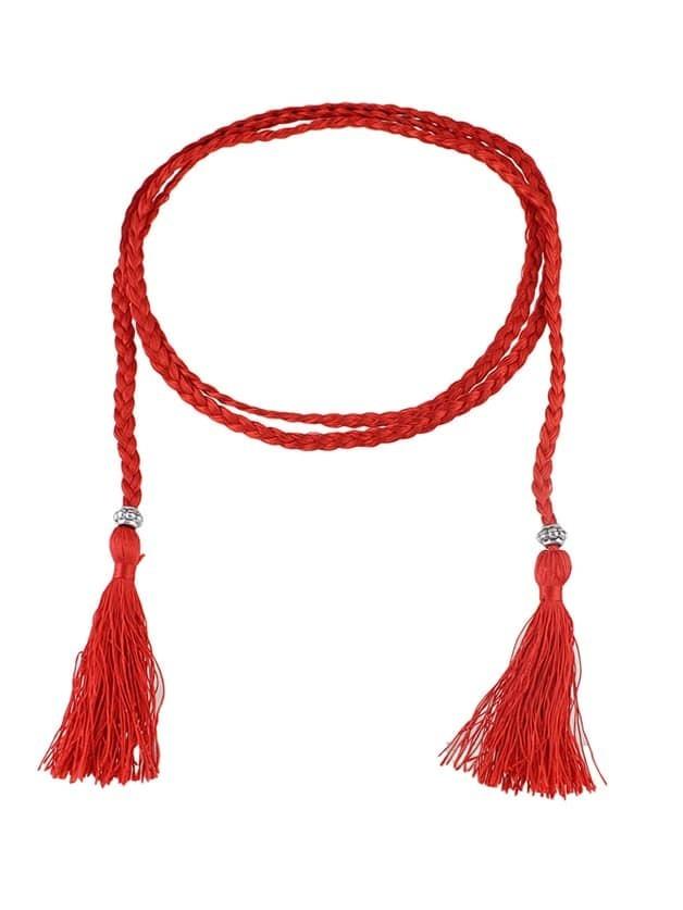 Фото Red Long Boho Casual Tassel Belt. Купить с доставкой