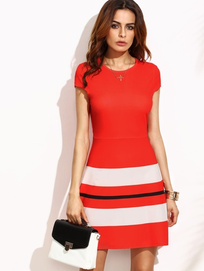 Red Striped Print Cap Sleeve A Line Dress