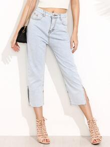 Pale Blue Slit Side Jeans