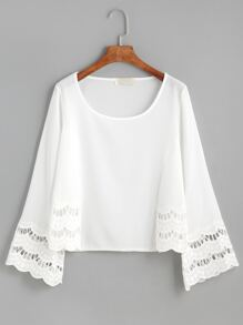 White Crochet Insert Hollow Out Scallop Blouse