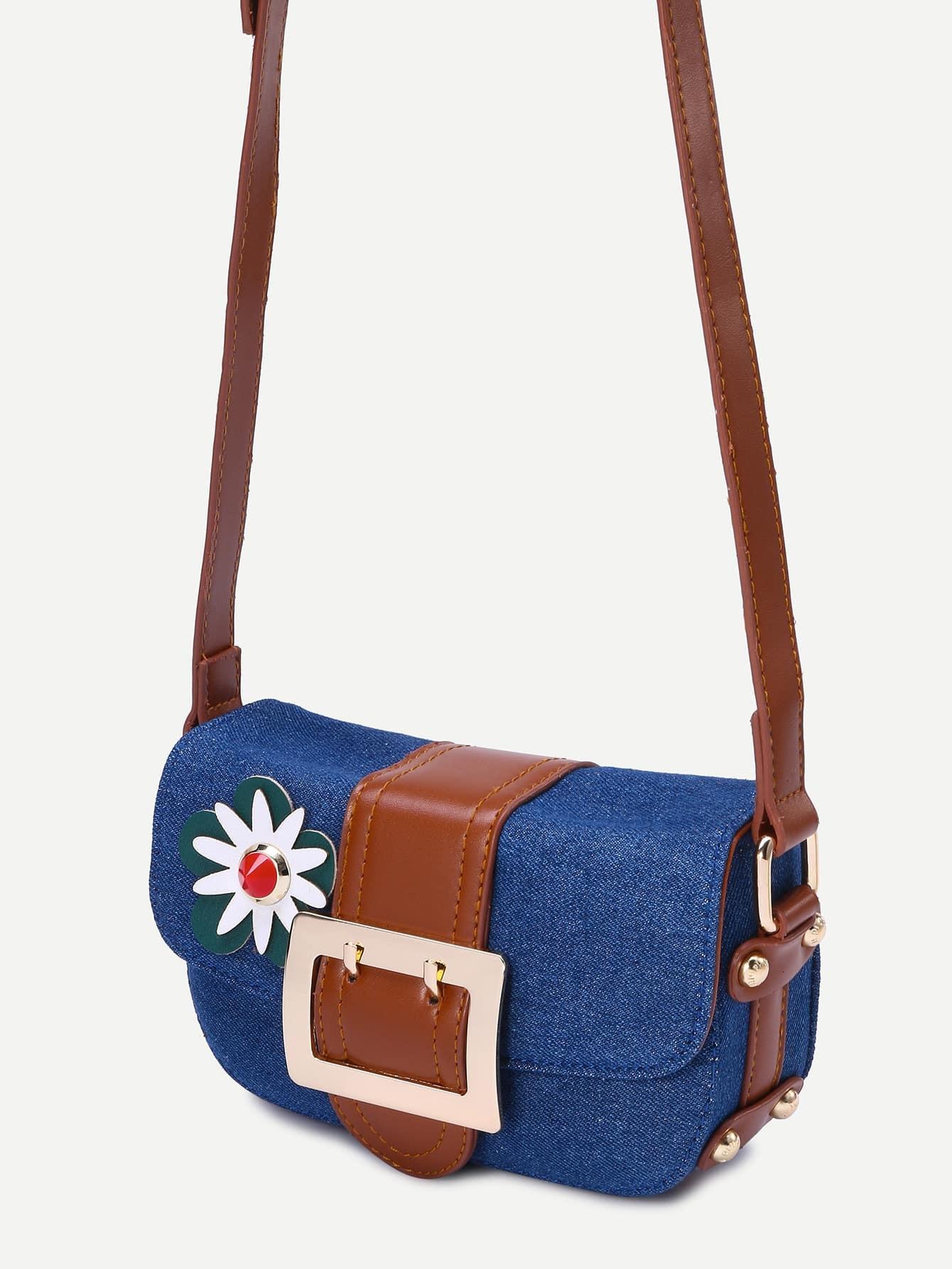 Dark Blue Flower Embellished Denim CrossBody Bag -SheIn(Sheinside)