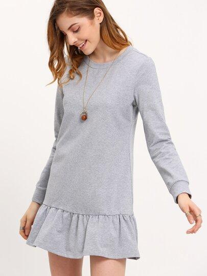 Grey Long Sleeve Ruffle Dress