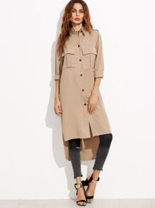 Khaki Single Breasted High Low Long Coat