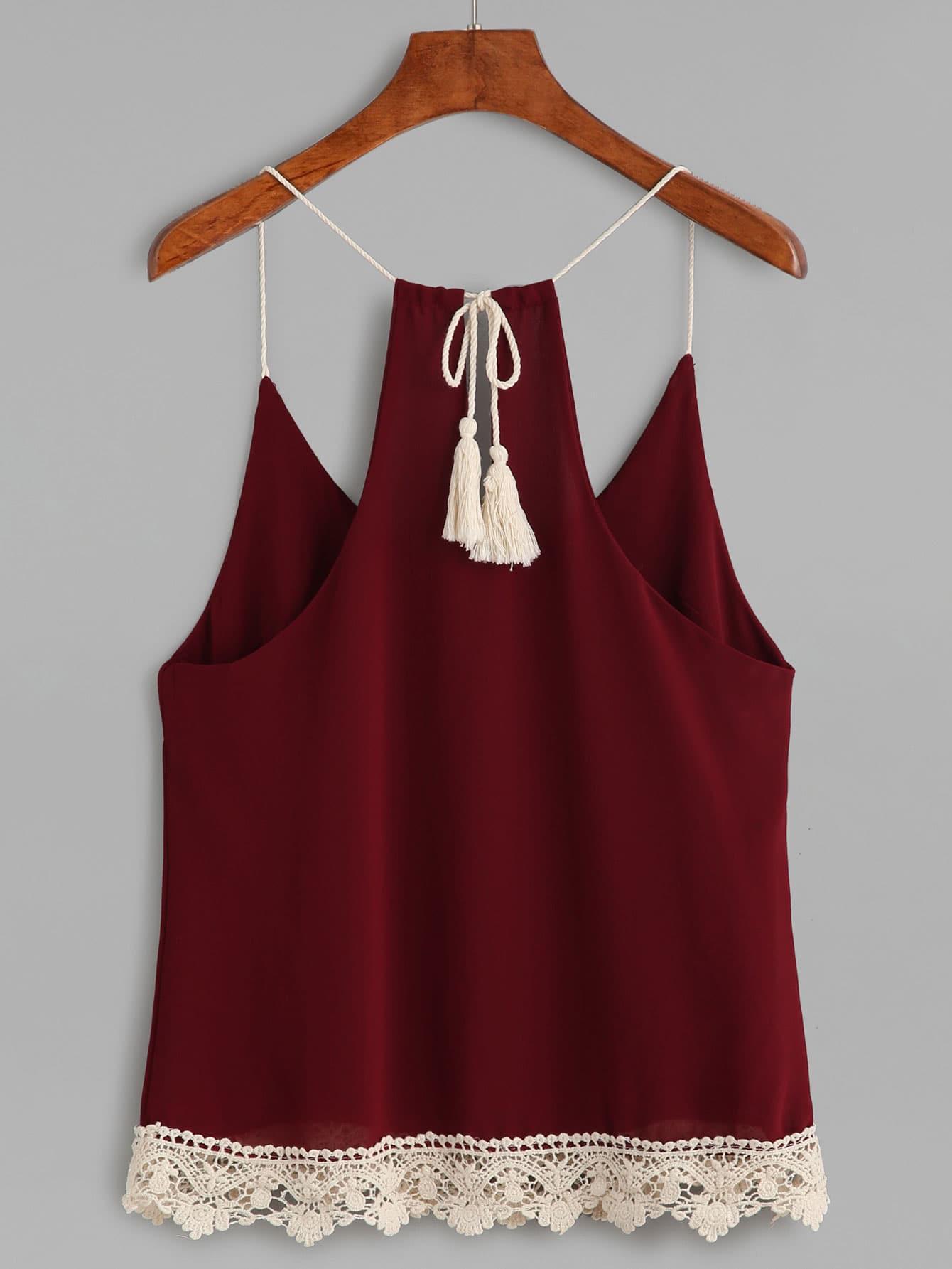 Lace Crochet Trim Tassel Tie Cami Top vest160817001