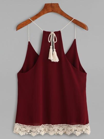 Top à bretelle avec crochet et franges - rouge bordeaux