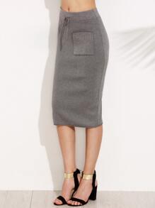 Grey Drawstring Knit Pencil Skirt