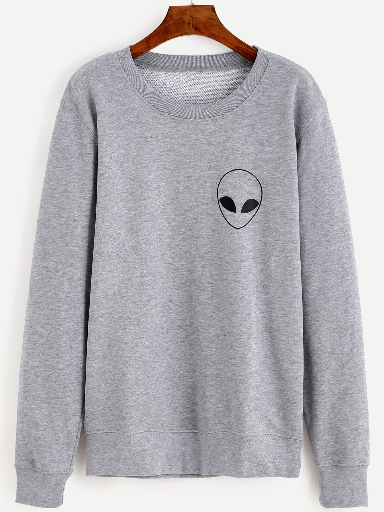 Grey Alien Print Long Sleeve Sweatshirt sweatshirt160803303