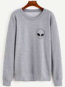 Grey Alien Print Long Sleeve Sweatshirt