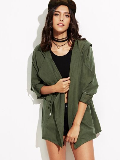 Roll-Up Sleeve Drawstring Hooded Coat