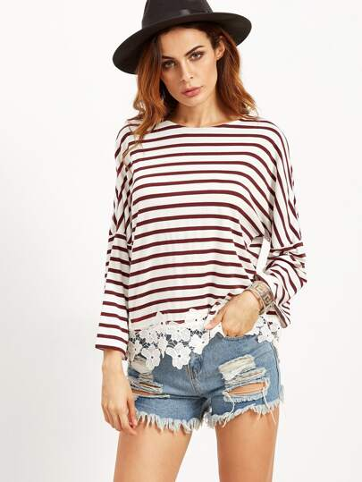 Striped Drop Shoulder Tee With Flower Lace Detail