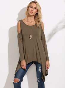 Olive Green Cold Shoulder Asymmetric T-shirt