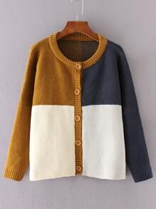 Color Block Drop Shoulder Buttons Front Sweater Coat
