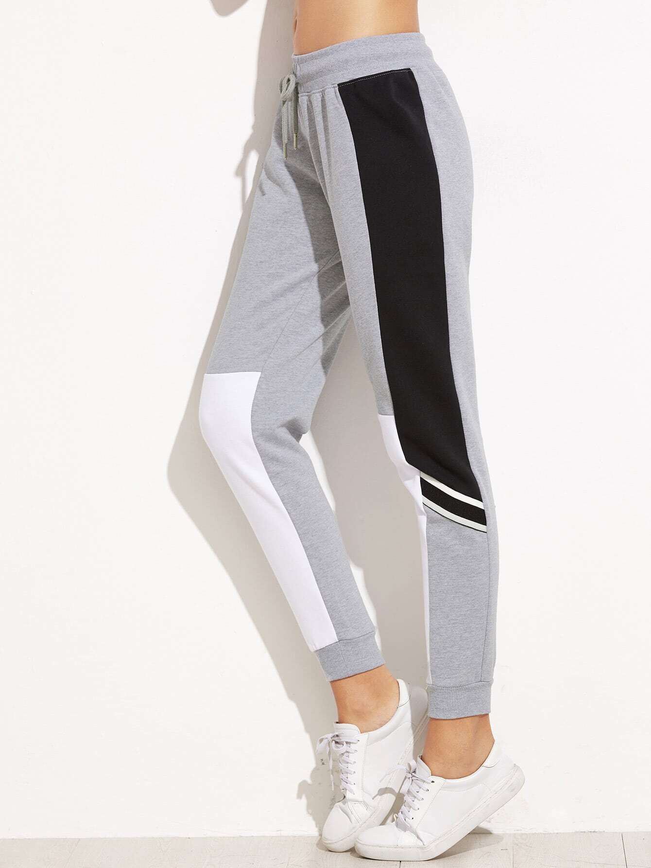 Купить со скидкой Grey Color Block Drawstring Waist Casual Pants